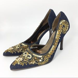 Rouge Denim Sequin Pointed-Toe D'Orsay High Heels